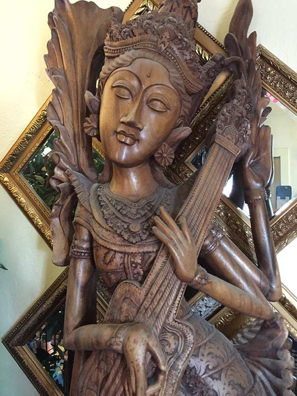 Wooden carved goddess in reception area